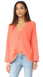 Free People La Brea Sweater Coral