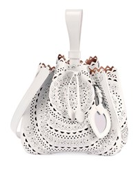 Alaia Rose Marie Small Cutout Bucket Bag With Strap White