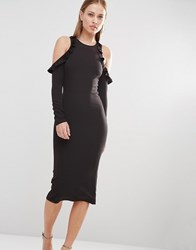 Oh My Love Cold Shoulder Midi Dress With Frill Detail Black Navy