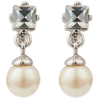 Susan Caplan Vintage 1980S Nina Ricci Sterling Silver Faux Pearl And Swarovski Crystal Drop Earrings Silver White
