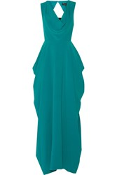 Alice Olivia Gretchen Draped Crepe Gown Blue