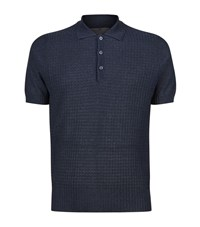 Canali 3D Check Polo Shirt Male Navy