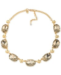 Carolee Gold Tone Brown Stone Collar Necklace