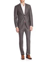 Isaia Grey Textured Plaid Suit Medium Grey