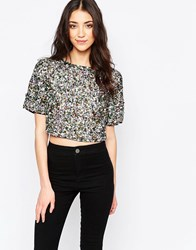 Glamorous Sequin Crop T Shirt Multi Sequin