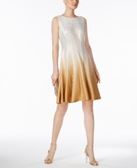 Msk Glitter Ombre Metallic Fit And Flare Dress White Gold
