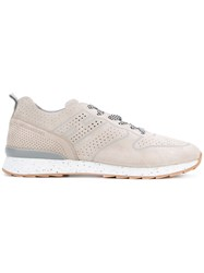 Hogan Rebel Perforated Sneakers Men Leather Suede Rubber 8.5 Nude Neutrals