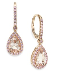 Macy's Morganite And Pink Sapphire Drop Earrings In 14K Rose Gold 2 3 8 Ct. T.W.