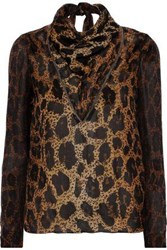 Tom Ford Woman Tie Neck Tulle Trimmed Silk Georgette Blouse Light Brown