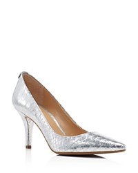 Michael Michael Kors Flex Metallic Snake Embossed Pointed Toe Pumps Dove Silver