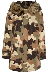 Michael Michael Kors Hooded Faux Fur Trimmed Camouflage Print Shell Coat