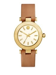 Tory Burch Classic T Leather Strap Watch Yellow Gold