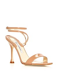 Brian Atwood Women's Sienna Patent Leather Ankle Strap Sandals Cappuccino