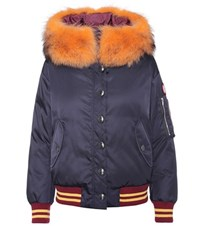 Miu Miu Fur Trimmed Cropped Parka Blue
