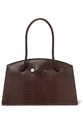 Little Liffner Faux Pearl Embellished Lizard Effect Leather Tote Dark Brown