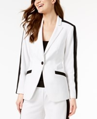 Inc International Concepts I.N.C. Striped Sleeve Single Button Blazer Created For Macy's Bright White