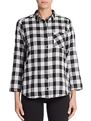 Candc California Check Roll Sleeve Pocket Blouse Charcoal