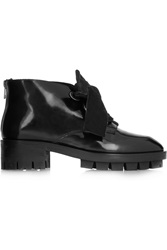 Sandro Aline Glossed Leather Boots Black