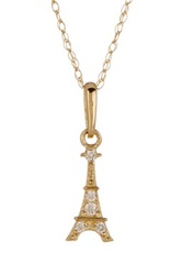Candela 10K Yellow Gold Eiffel Tower Pendant Necklace Metallic