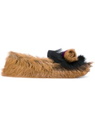 Prada Furry Slippers Goat Fur Leather Rubber 38.5 Brown