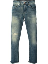 Off White Striped Detail Jeans Blue