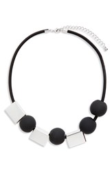 Natasha Geo Necklace Black Silver