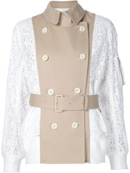 Sacai Eyelet Lace Bomber Jacket Nude And Neutrals