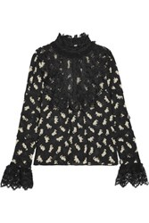 Anna Sui Shadow Cats Lace Paneled Printed Georgette Blouse Black