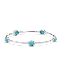 Ippolita Sterling Silver Rock Candy 5 Stone Bangle In Turquoise Size 1