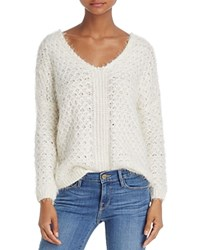 Molly Bracken Fuzzy Faux Pearl Trimmed Sweater Off White