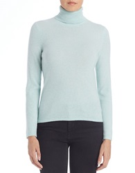 Lord And Taylor Cashmere Turtleneck Sweater Iced Aqua Heather