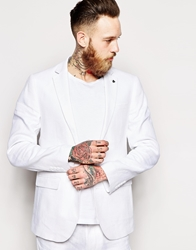 Asos Slim Fit Suit Jacket In 100 Linen White
