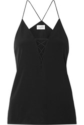 Cami Nyc Blake Lace Up Silk Charmeuse Camisole Black