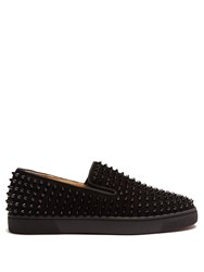 Christian Louboutin Roller Boat Spike Embellished Slip On Trainers Black