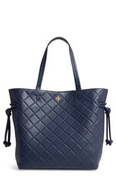 Tory Burch Georgia Slouchy Quilted Leather Tote Blue Royal Navy