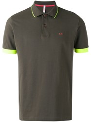 Sun 68 Contrast Polo Shirt Green