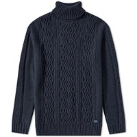 Bleu De Paname Irish Cable Roll Neck Knit Blue