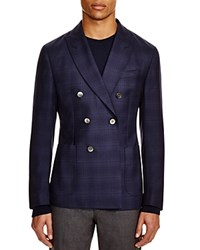 Hardy Amies Link Check Double Breasted Slim Fit Sport Coat Navy