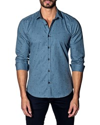 Jared Lang Modern Fit Micro Stars Long Sleeve Shirt Demin Micro Stars