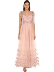 Luisa Beccaria Embroidered Tulle Long Dress Pink