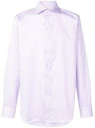 Canali Striped Shirt Purple