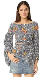 All Things Mochi Balloon Sleeve Top Black Multi
