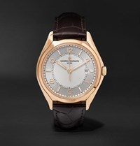 Vacheron Constantin Fiftysix Automatic 40Mm 18 Karat Pink Gold And Alligator Watch Silver