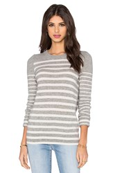 White Warren Crew Neck Stripe Sweater Gray