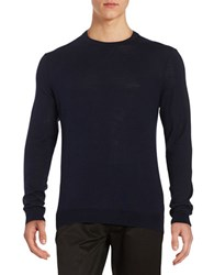 Black Brown Solid Crewneck Sweater Dark Navy
