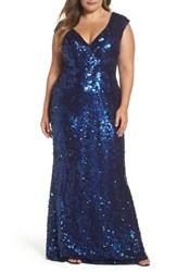 Mac Duggal Plus Size Women's Sequin Plunging V Neck Gown Platinum Gold