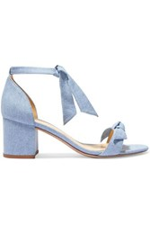 Alexandre Birman Clarita Bow Embellished Denim Sandals Mid Denim