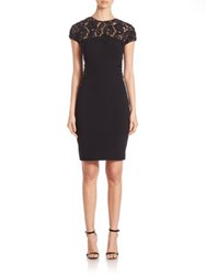 Pamella Roland Embroidered Lace Dress Black