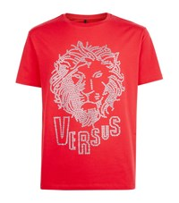 Versus By Versace Embellished Lion T Shirt Male Red