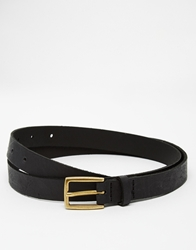 Asos Leather Skinny Belt In Black With Distressing